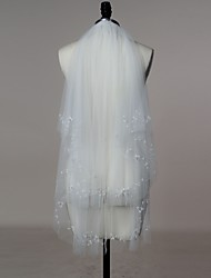 Bride Wedding White / Ivory Veil Two-tier Fingertip Veils / Elbow Veils Cut Edge Tulle With Comb
