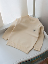 Casual/Daily Solid Blouse,Cotton Winter Long Sleeve