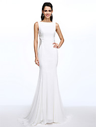 LAN TING BRIDE Trumpet / Mermaid Wedding Dress See-Through Court Train Bateau Chiffon with Button Lace