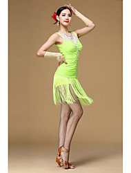 Latin Dance Dresses Women's Performance Polyester Flower(s) Tassel(s) 4 Pieces Sleeveless High Dress Gloves Shorts