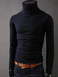 Men's Going out Simple Fall / Winter T-shirt,Solid Turtleneck Long Sleeve Multi-color Cotton Thick