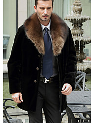 Men's Casual/Daily Simple Fur Coat,Solid Shirt Collar Long Sleeve Winter Black Faux Fur / Goatskin Medium