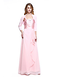 Sheath / Column Mother of the Bride Dress Floor-length Chiffon with Beading / Side Draping