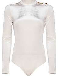 Women's Slim Rompers,Beach / Sports Sexy Solid Stand Long Sleeve Low Rise Nylon Micro-elastic Fall