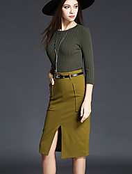 Women's Casual/Daily Street chic Fall / Winter Set Skirt Suits,Solid Round Neck Long Sleeve Green Polyester Medium