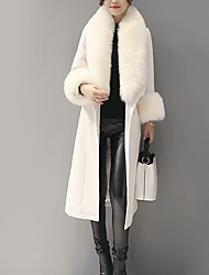 Women's Daily Simple / Street chic Coat  Peaked Lapel Long Sleeve FallFur Trim