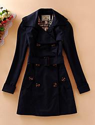 Damen Solide Retro Lässig/Alltäglich Mantel,Winter V-Ausschnitt Langarm Blau / Grau Dick Wolle