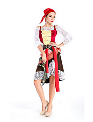 Festival/Holiday Halloween Costumes White & Red & Black Solid Top / Skirt / Belt / Headwear Halloween / Christmas / Carnival Female