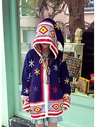 Women's Going out / Holiday Cute Long Cardigan,Geometric Blue Hooded Long Sleeve Wool Fall Medium Micro-elastic