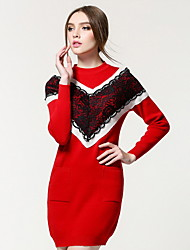 Women's Going out / Casual/Daily Simple / Cute Sweater Dress,Color Block Round Neck Knee-length Long Sleeve Red / Black Acrylic FallMid
