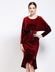Damen Solide Einfach Lässig/Alltäglich T-shirt Rock Anzüge,Rundhalsausschnitt Herbst Langarm Rot / SchwarzBaumwolle / Polyester /