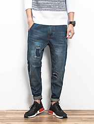Men's Loose Jeans Pants,Casual/Daily Simple Solid Mid Rise Zipper Cotton Inelastic Spring / Fall