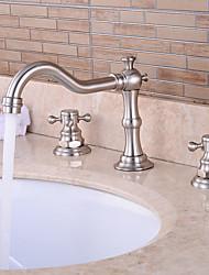 moderne Keramik-Ventil zwei Griffe drei Löcher für Chrom Badewannenhahn / Waschbecken im Badezimmer