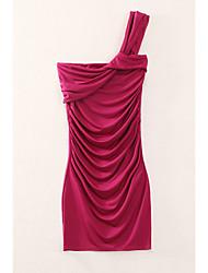 Moulante Robe Femme Décontracté / Quotidien Sexy,Couleur Pleine Bateau Mini Sans Manches Violet Modal Eté Taille Normale Elastique Moyen