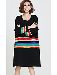 Women's Casual/Daily Simple Sweater Dress,Striped Round Neck Midi Long Sleeve Red / Black Faux Fur Fall / Winter Mid Rise Micro-elastic