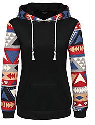 Damen Standard Hoodies Einfach Patchwork Blau / Rosa / Weiß / Schwarz / Grün Rundhalsausschnitt Langarm Baumwolle Mittel Mikro-elastisch