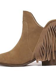 Damen-Stiefel-Büro Kleid Lässig-Pelz-Blockabsatz-Gladiator-Schwarz Beige
