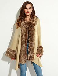 Damen Lang Mantel / Capes-Übergröße Retro Patchwork Beige / Schwarz V-Ausschnitt Langarm Wolle / Acryl Winter Mittel