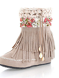 Women's Boots Fall Winter Others Leather Casual Tassel Flower Black Brown Beige Others