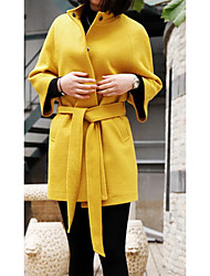 Women's Casual/Daily Simple Coat,Solid Shirt Collar Long Sleeve Spring / Fall Yellow Cotton Medium