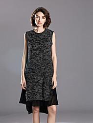 Damen Tunika Kleid-Lässig/Alltäglich Einfach Solide Rundhalsausschnitt Übers Knie Ärmellos Schwarz Acryl Herbst Mittlere Hüfthöhe