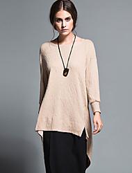 Damen Standard Pullover-Lässig/Alltäglich Einfach Solide Weiß / Beige Rundhalsausschnitt Langarm Wolle / Baumwolle Herbst / Winter Mittel