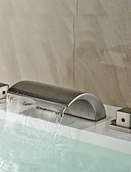 Art Deco/Retro Widespread Waterfall with  Ceramic Valve Two Handles Three Holes for  Nickel Brushed , Bathroom Sink Faucet
