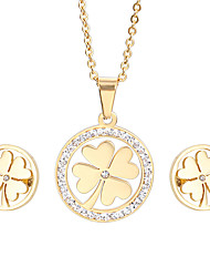 Kalen Lucky Jewellry Stainless Steel 18K Gold &Silver Color Clover Pendant Necklace Earrings Sets For Women From China Supplier