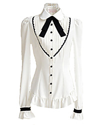 Blouse/Shirt Sweet Lolita White / Black Lolita Accessories Blouse For Female Polyester
