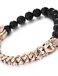 Kalen New Punk Rose Gold Plated Link Chain Skull Head Bracelets Gothic Black Lava Beads Men's Bracelets Cool Accessory Gifts
