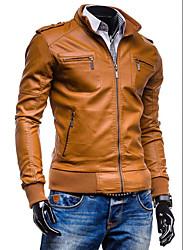 Masculino Jaquetas de Couro Casual / Trabalho Simples Todas as Estações,Sólido Preto / Marrom Poliuretano Colarinho Chinês-Manga Longa