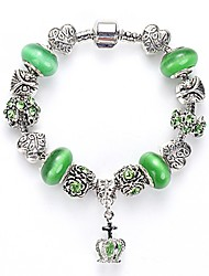 Lucky Doll Vintage Silver Plated Gemstone & Crystal / Cubic Zirconia Link/Chain / Beaded / Charm Bracele