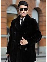 Men's Going out Vintage / Simple Fur Coat,Solid Round Neck Long Sleeve Winter Black Faux Fur