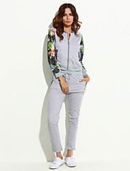 Hoodies Aux femmes Sportif Grandes Tailles / Actif Mosaïque Rose / Gris Polyester