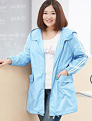 MsShe Women's Plus Size / Casual/Daily Simple Trench CoatSolid Hooded Long Sleeve Fall Blue / Gray Nylon Medium