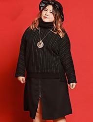 Damen Röcke,A-Linie einfarbigLässig/Alltäglich Einfach Mittlere Hüfthöhe Midi Reisverschluss Elasthan / Polyester Micro-elastisch Sommer