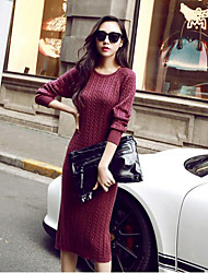 Women's Casual/Daily Simple Sweater Dress,Print Round Neck Midi Long Sleeve Red / Black / Green Acrylic Spring / Fall Mid Rise