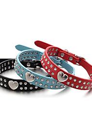 Gatos / Cães Colarinho Retratável / Confeccionada à Mão Corações / Strass Vermelho / Preto / Azul / Rosa / Laranja Pele PU