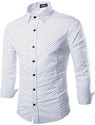 Men's Going out Simple Fall Shirt,Polka Dot Shirt Collar Long Sleeve White / Black Cotton Medium