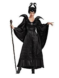 Sorcier/Sorcière Fête / Célébration Déguisement Halloween Noir Couleur Pleine Robe / ChapeauHalloween / Noël / Carnaval / Le Jour des