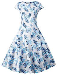 Swing Robe Femme Grandes Tailles Chic de Rue,Points Polka Col Arrondi Mi-long Manches Courtes Multi-couleur Coton Toutes les Saisons