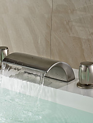 Contemporary / Art Deco/Retro / Modern Widespread Waterfall / Widespread with  Ceramic Valve Two Handles Three Holes for  Nickel Brushed,