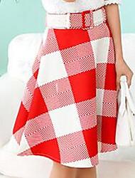 Women's Bodycon Solid Skirts,Work Low Rise Midi Zipper Cotton Micro-elastic Summer