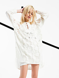 Women's Going out / Casual/Daily / Beach Simple / Street chic Loose Dress,Solid Round Neck Above Knee Long Sleeve White CottonSpring /