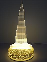 ilusão luz conduzida da mesa de acrílico decoração feriado dubai torre 3d