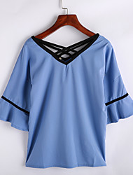 Women's Patchwork Blue / White Blouse,V Neck ½ Length Sleeve