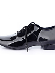 Men's Dance Shoes Leatherette Leatherette Latin Sneakers Low Heel Practice Black