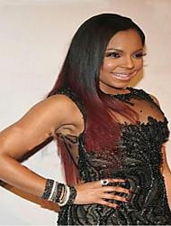 dentelle devant perruque brazilian vierge yaki de cheveux humains perruque droite ombre burgandy couleur pour les femmes noires