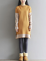 Women's Going out / Casual/Daily Simple / Cute Sweater Dress,Patchwork Round Neck Above Knee Long Sleeve Blue / Brown Wool / CottonFall /