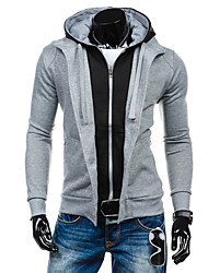 Men's Casual/Daily Sports Active Simple Hoodie Color Block Inelastic Cotton Long Sleeve Spring